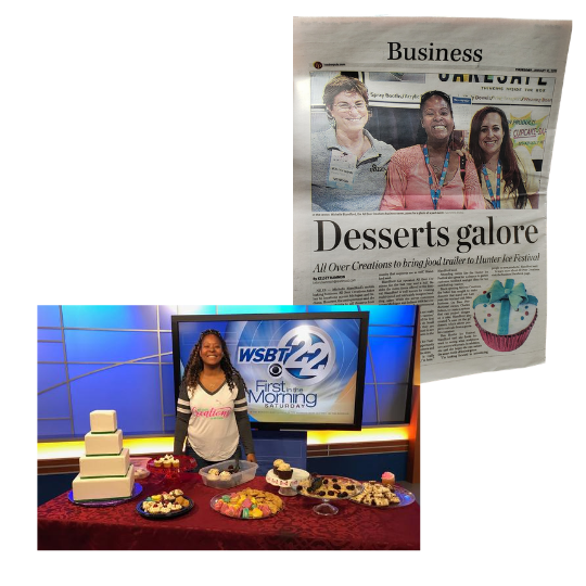 Michelle pictured on WSBT 22 and a full-page feature in the Business section of the newspaper