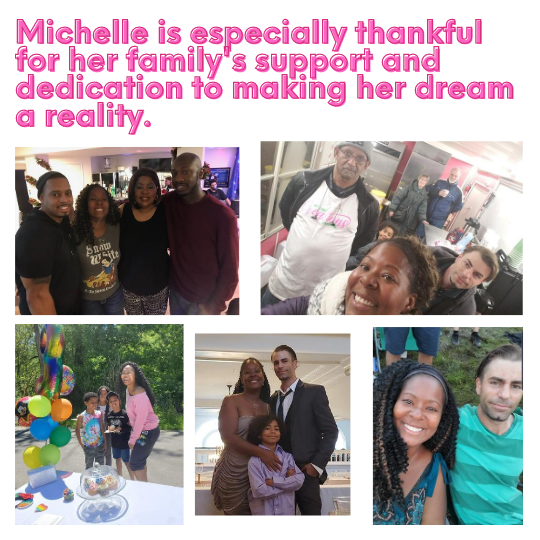 Michelle pictured with her family members