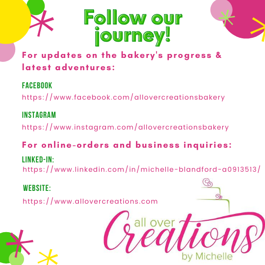 All Over Creations social media links and web links are displayed