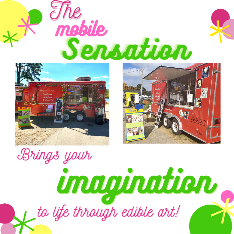 All Over Creations food-trailer pictured. Tag - The mobile sensation brings your imagination to life through edible art!