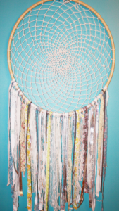 30 inch Bohemian Vintage Fabric Dream Catcher