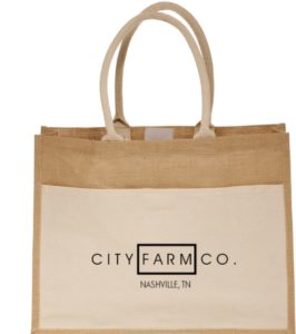 Farmers' Market Tote - Cotton Pocket Jute Tote Bag