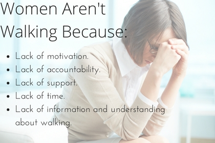 Lack of motivation.Lack of accountability.Lack of support.Lack of time.Lack of information and understanding about walking.