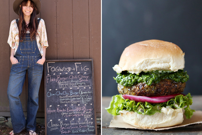 L: Diana with the menu of the day; R: the Chimi Cha Cha burger - spiced beluga lentil and mushroom patty w roasted scallion aioli, house pink pickled onion, and fresh green-herb chimichurri sauce